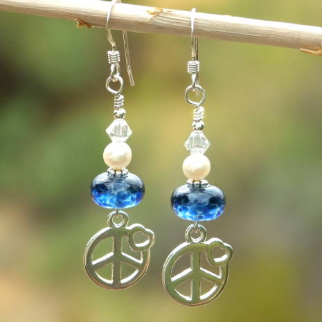 peace sign and hearts jewelry gift for women