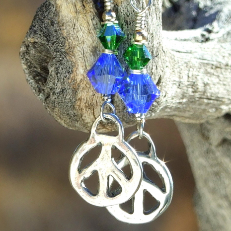 peace sign earrings gift for women