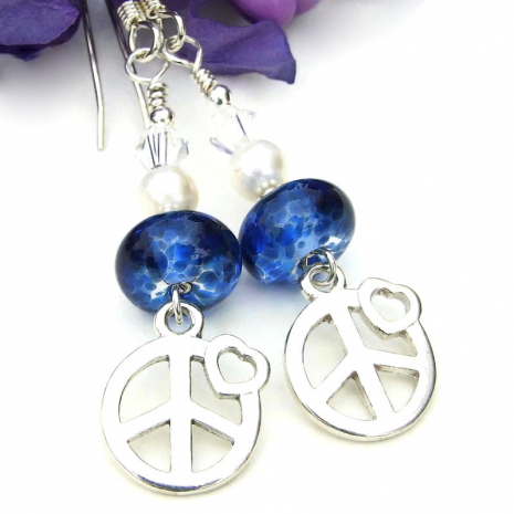 peace sign earrings with hearts