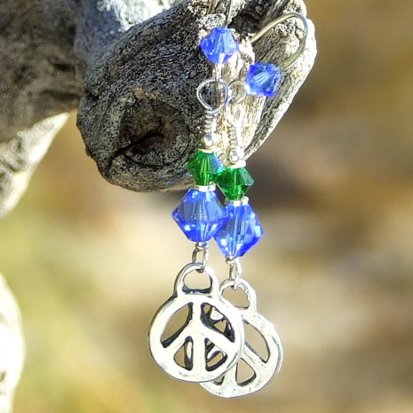 peace sign handmade earrings gift for women