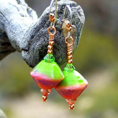 peach and lime green lampwork dangle jewelry with crystals