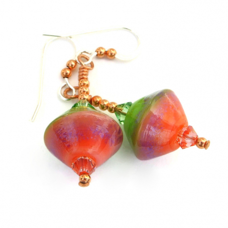 peach pink lavender green lampwork bicone jewelry gift for women