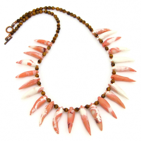 peack pink white coral spikes tigers eye jewelry gift for her