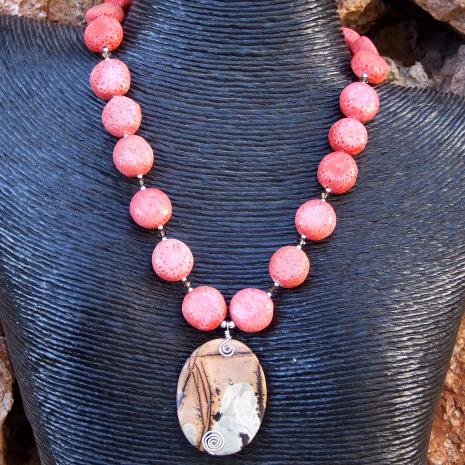 Unique nature's paintbrush jasper pendant necklace with pink sponge coral.