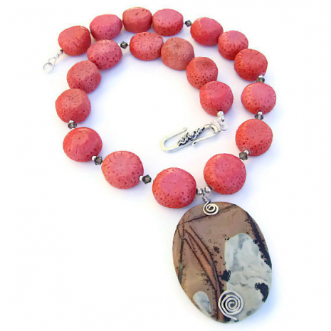 Artisan handmade jasper and sponge coral necklace.