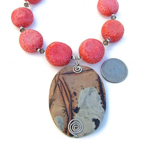 What a stunning nature's paintbrush jasper pendant necklace!