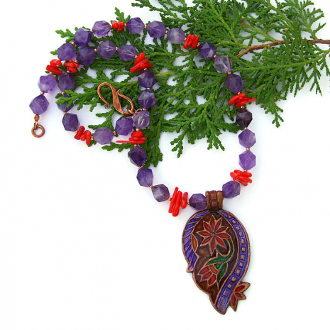 Paisley and gemstone jewelry - gift idea for women.
