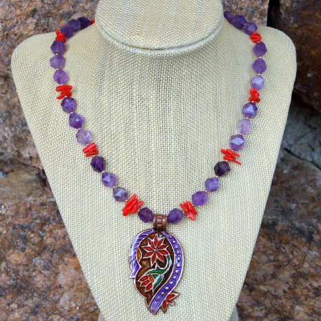 Paisley pendant necklace with amethyst for women.