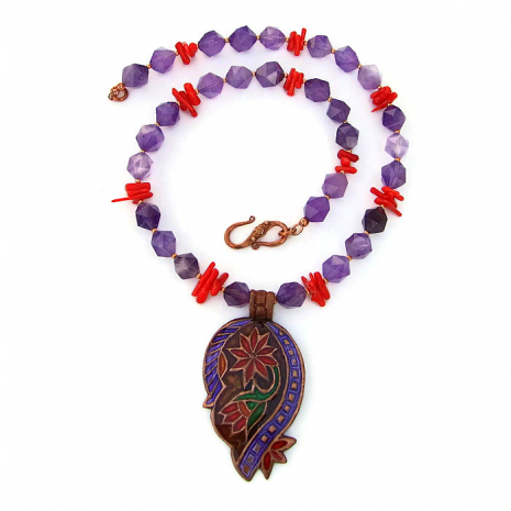 Paisley necklace with amethyst and red coral.