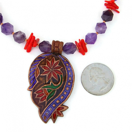 One of a kind paisley and gemstone necklace for her.