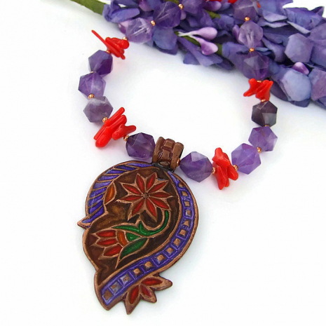 Handmade star cut amethyst necklace.