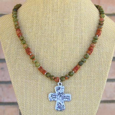 petroglyph cross pendant necklace unakite bauxite pipestone