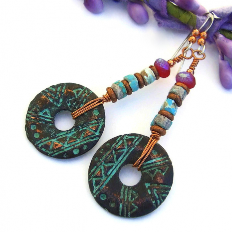 petroglyph mykonos and turquoise dangle earrings for her