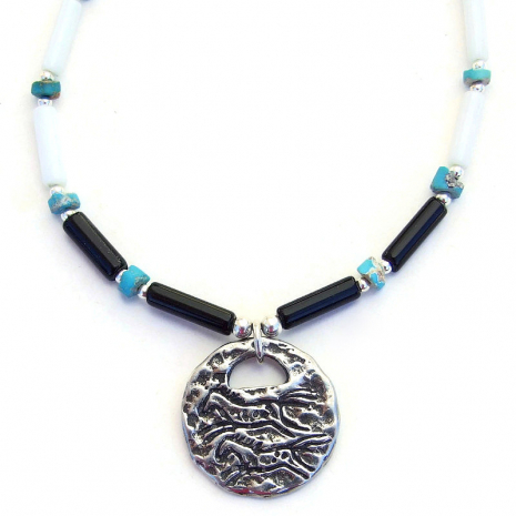petroglyph running horses pewter pendant necklace gift for her