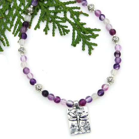 dragonfly necklace with purple fluorite gemstones