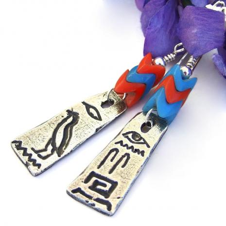 pewter egyptian hieroglyphs earrings with glass snake vertebrae