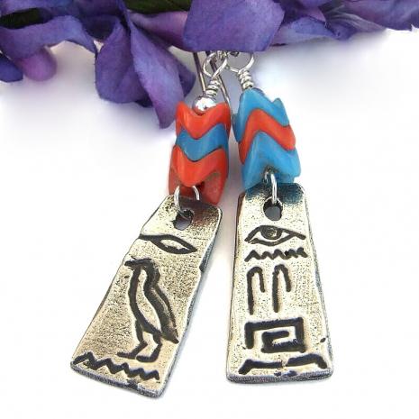 pewter egyptian hieroglyphs jewelry with glass snake vertebrae
