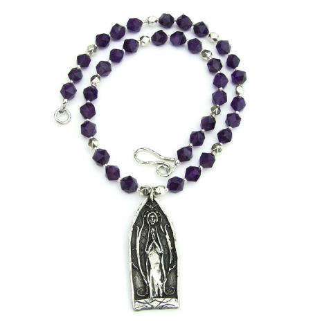 pewter praying person jewelry with amethyst gift for her