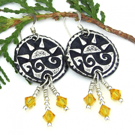 pewter sun and surf summer earrings