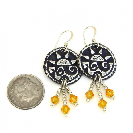 pewter sun earrings with yellow swarovski crystals