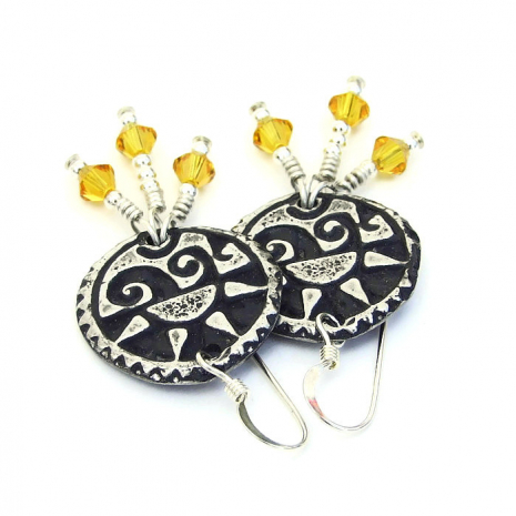 pewter sun jewelry with yellow swarovski crystals