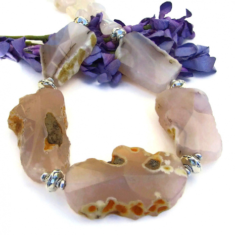 Handmade pink agate gemstone necklace, gift idea.