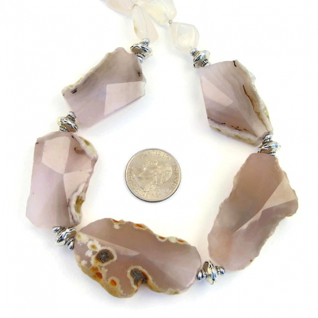 Chunky pink agate statement necklace.