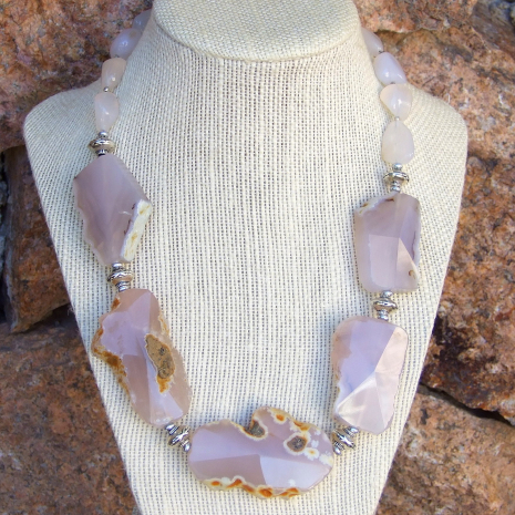 pink agate gemstone jewelry for women