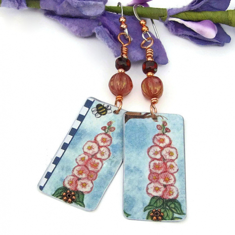 vintage tin flower and bee earrings for her