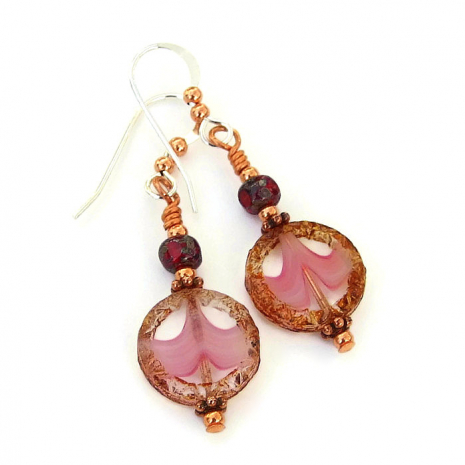 pink and brown mothers day earrings gift idea