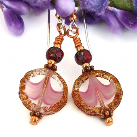handmade pink and brown earrings with ruby red accents