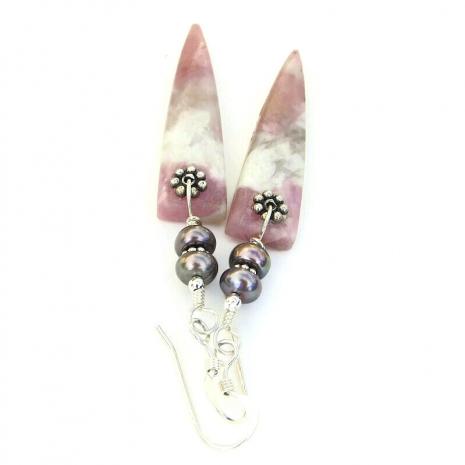 pink and gray gemstone spike jewelry