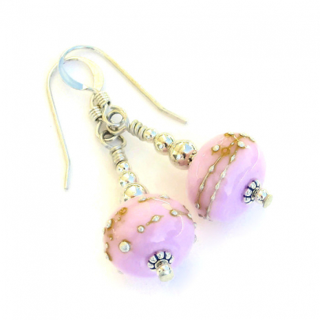Fun bubblegum pink lampwork and sterling silver handmade earrings.