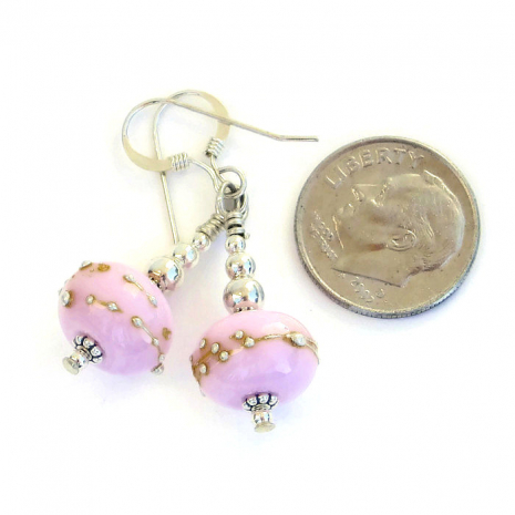 Handmade pink lampwork earrings,