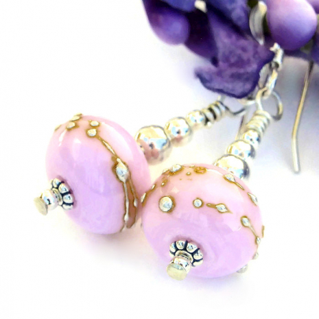 One of a kind handmade bubblegum pink lampwork glass earrings.