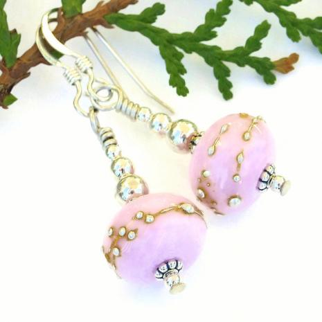 Sweet bubblegum pink artisan handmade dangle earrings.