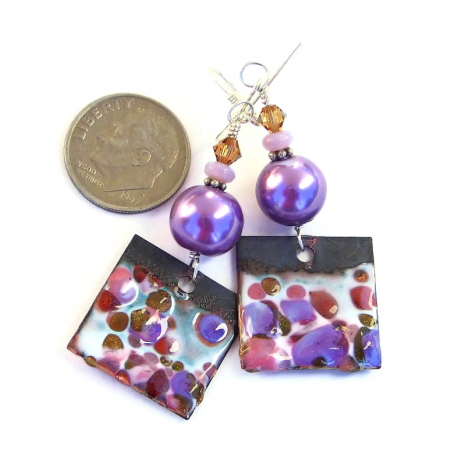 pink and purple spotted enamel earrings gift for her