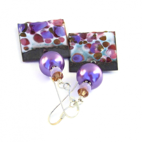 pink and purple spotted enamel jewelry gift for her