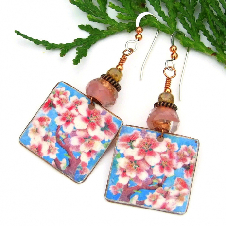 pink and white cherry blossom flowers earrings jewelry gift