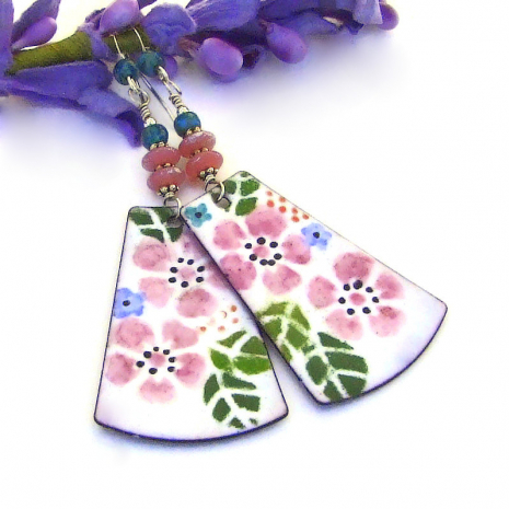 pink and white watercolor look flower jewelry