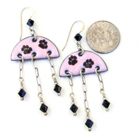 pink black enamel dog cat paw print jewelry gift for her