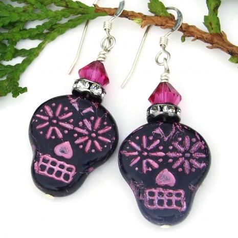 dia de los muertos sugar skull earrings pink and black