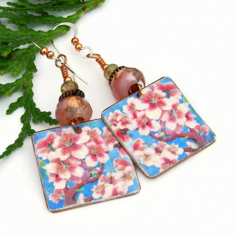 pink cherry blossom earrings with Czech glass