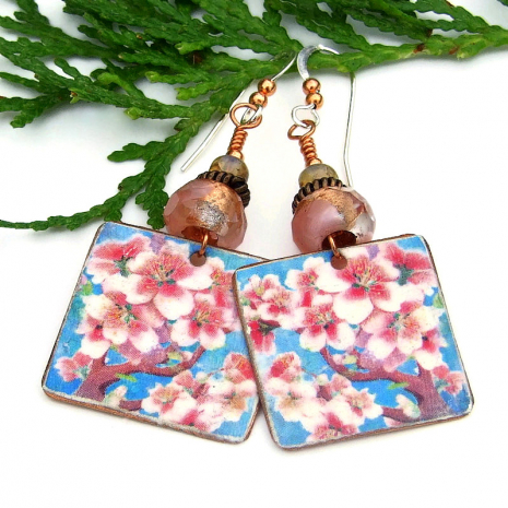 pink cherry blossoms against blue sky earrings