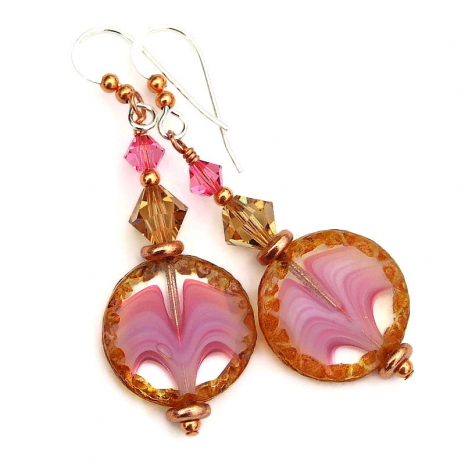 pink clear brown czech glass coin jewelry gft for her