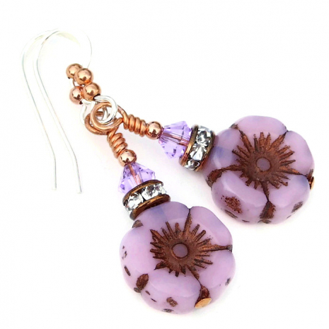 pink Czech glass flower earrings with crystals