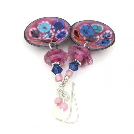 pink enamel disc jewelry lampwork Swarovski crystals