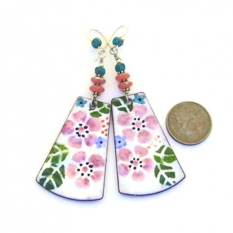 pink flower earrings gift for her