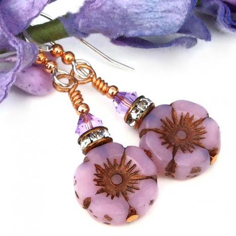 pink opal pansy flower earrings gift for women