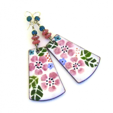 pink flower enamel jewelry gift for women